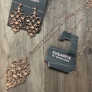 NWT Sugarfix rose gold metal necklace/earrings